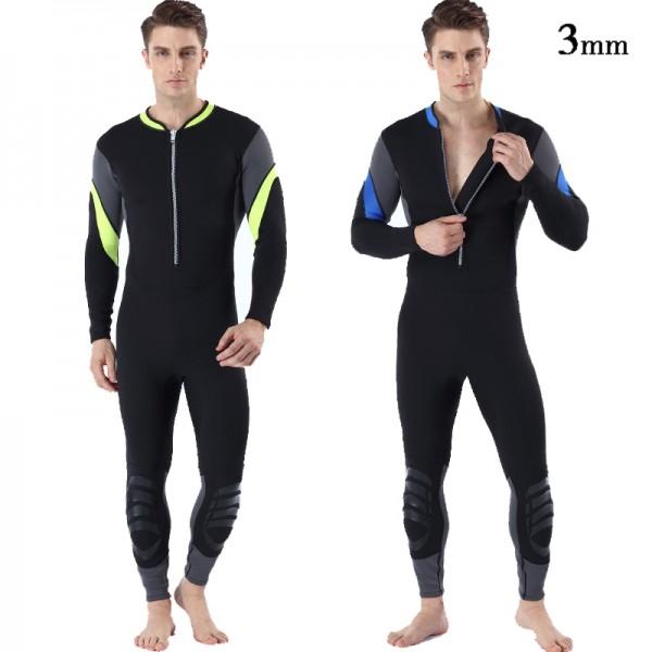 Men's Wetsuit Front Zip 3MM SCR Neoprene Diving Suit Warm Fullsuit Swimwear