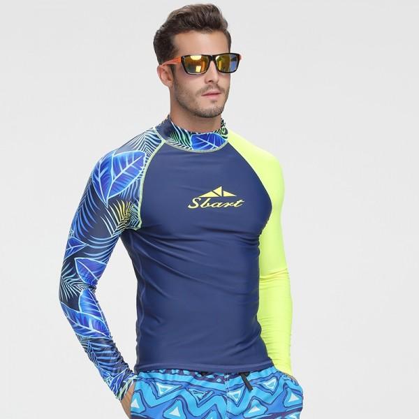 Men's Blue 2Pcs Long Sleeves Rash Guard Quick Dry Shorty Swimwear Shirts and Shorts