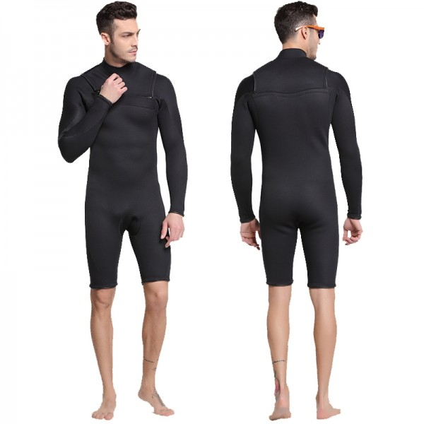 Long Sleeve Springsuit Front Zip Wetsuit 3MM SCR Neoprene Warm Rash Guard Swimsuit