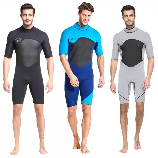 Shorty Springsuit For Men Colorblock 2MM Neoprene Warm Wetsuit