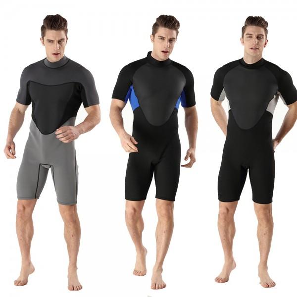 Men Shorty Springsuit 2MM SCR Neoprene Warm Wetsuit Rash Guard Back Zip Swimwsuit