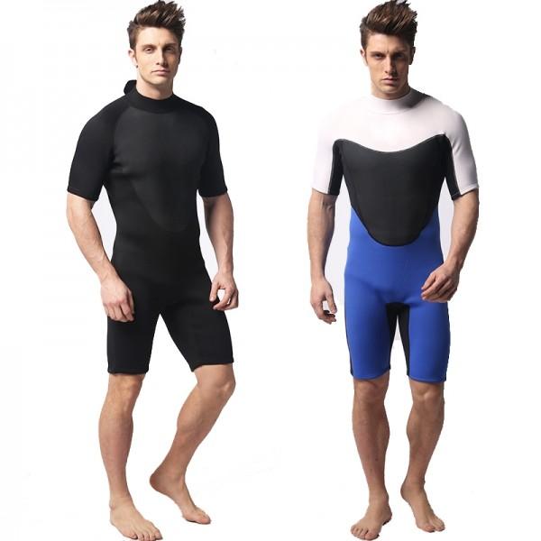 3MM Neoprene Men's Shorty Springsuit Warm Back Zip Wetsuit Swimwsuit