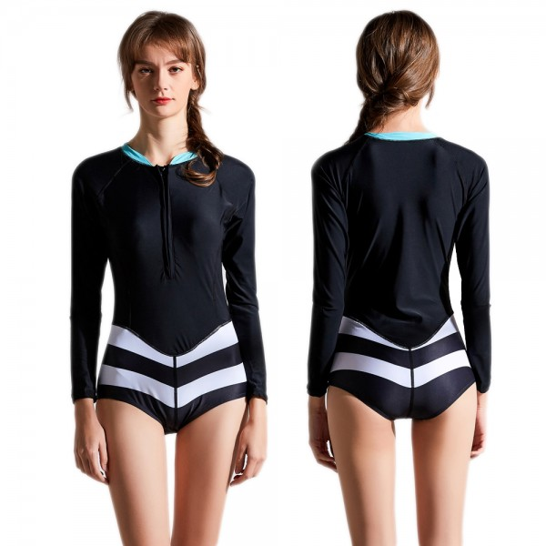 One Piece Rash Guard Swimsuit With Long Sleeves Black Bathing Suit