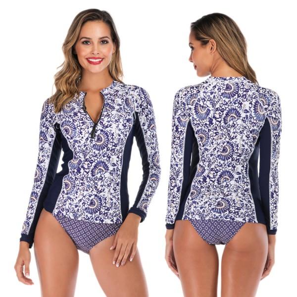 Two Piece Rash Guard Womens Tankinis Swimwear Blue Print With Long Sleeves