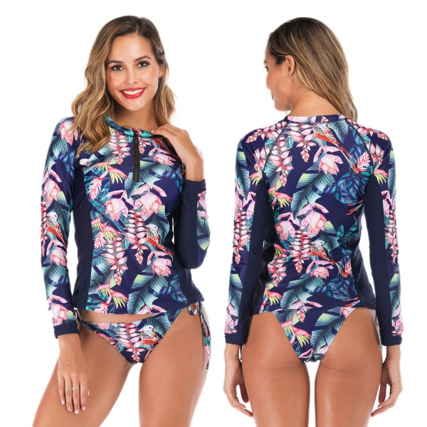 Long Sleeve Womens Rash Guard Swimwear Tankinis Blue Print High Neck