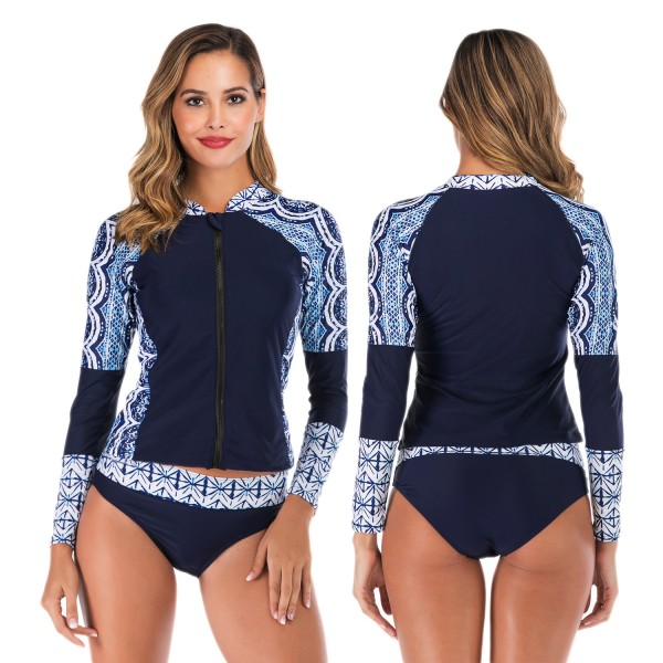 Two Piece Navy Womens Rash Guard Swim Shirts Swimwear Tankinis