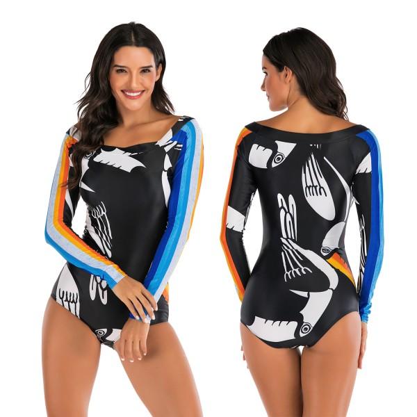 Long Sleeves Rash Guard Women's Bateau Neckline Surf Suit