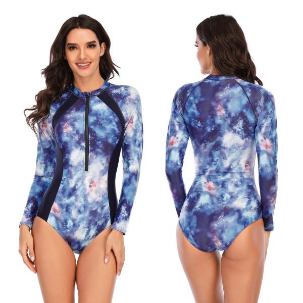 Women Blue Rash Guard One Piece Long Sleeve Swimsuit