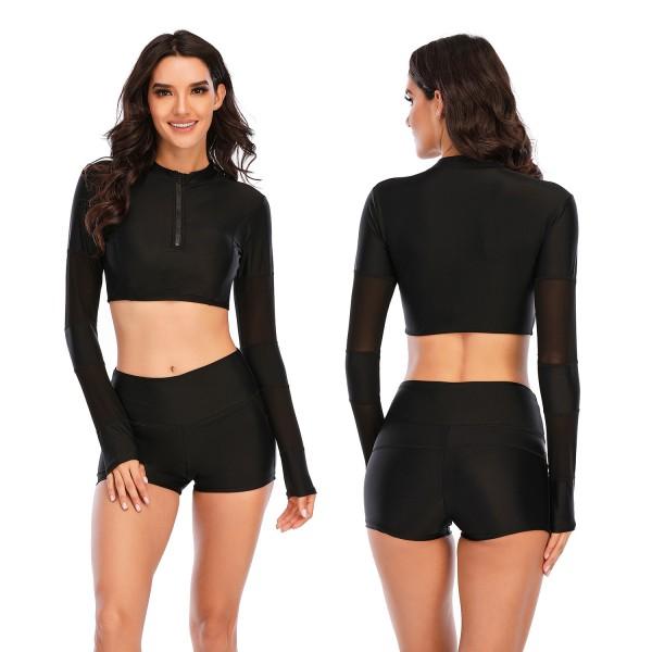 Two Pieces High Waist Swimsuit for Women Black Long Sleeves Bathingwear