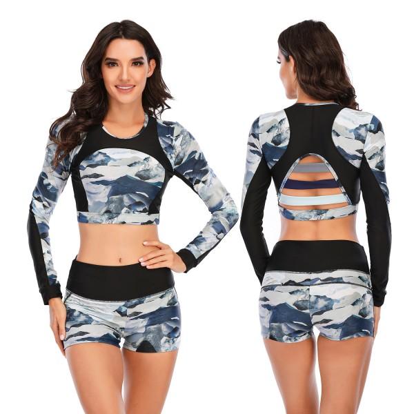 Women Two Pieces High Waist Swimsuit Camouflage Long Sleeve Rash Guard