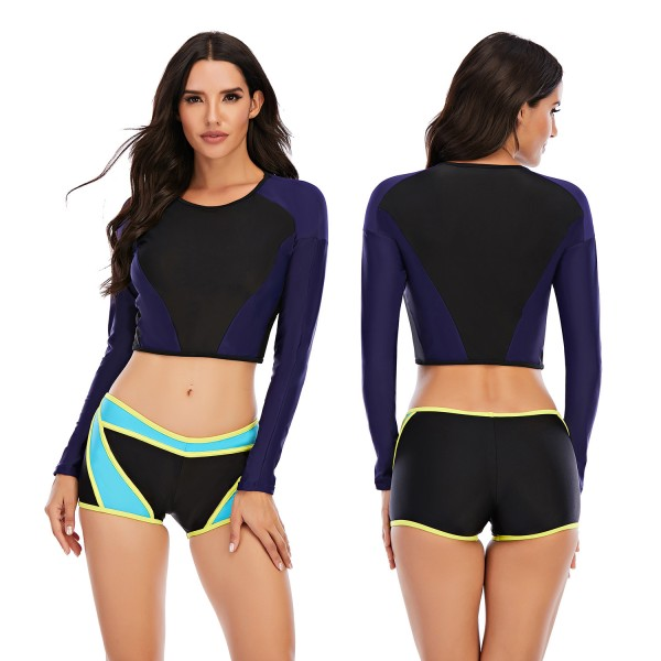 High Waist Two Pieces Rash Guard Long Sleeve Swimsuit for Women