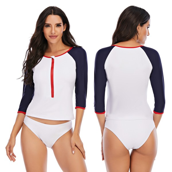 Women Two pieces Rash Guard Middle Length Sleeve Swimsuit