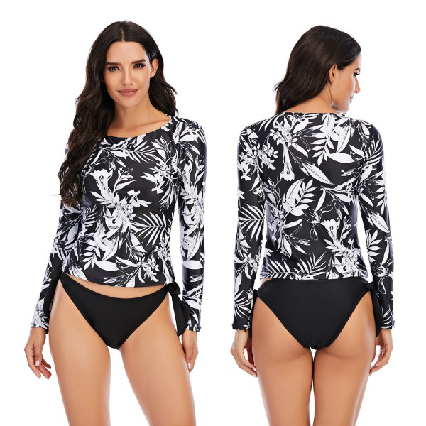Women Long Sleeve Rash Guard Two PIeces Floral Printed Bathing Suit
