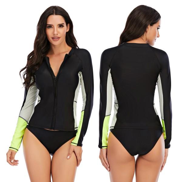 Black Two Pieces Women Rash Guard Green Cuff Swimsuit Long Sleeve Swimwear