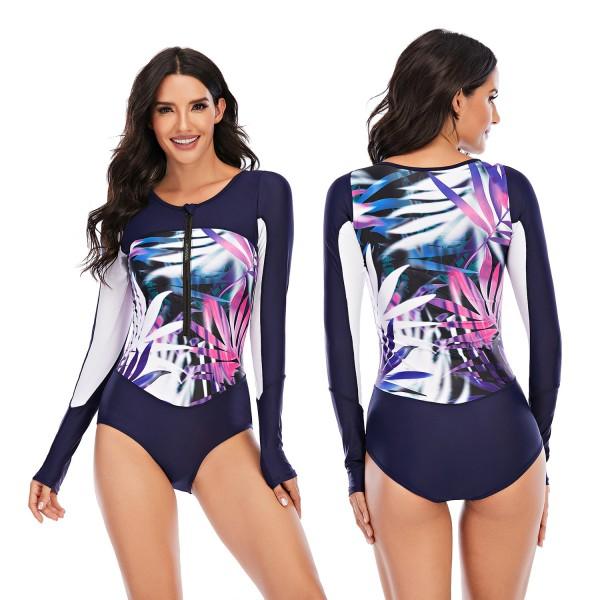 Dark Blue One Piece Rash Guard Long Sleeve Leaves Printed Wetsuit for Women