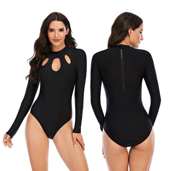 Black Long Sleeve Rash Guard For Women One Piece Chest Hollow Out Springsuit