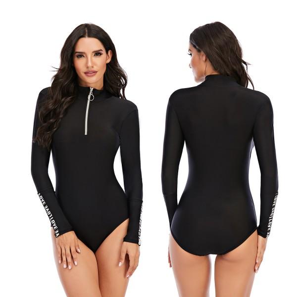 Women Black One Piece Rash Guard High-Necked Long Sleeve Wetsuit