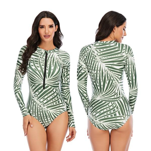 Women One Piece Rash Guard Palm Floral Pirnted Long Sleeve Swimwear