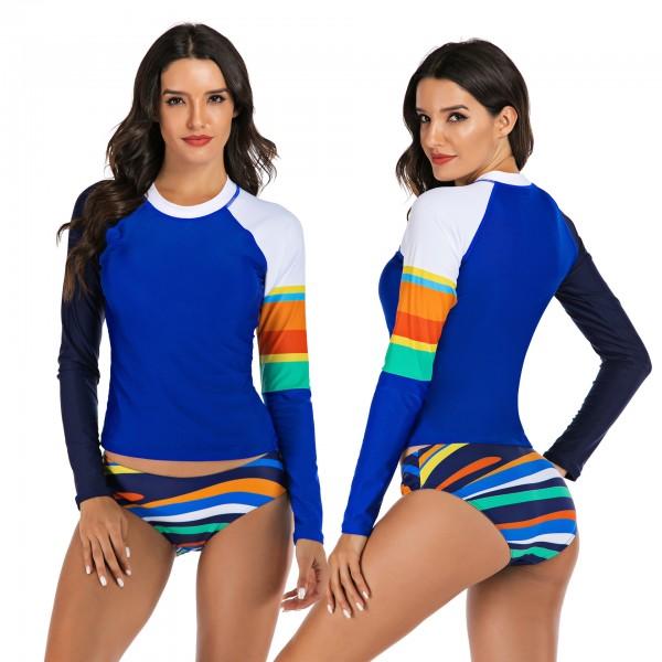 Blue Two Piece Swimsuit Women's Long Sleeves Rash Guard