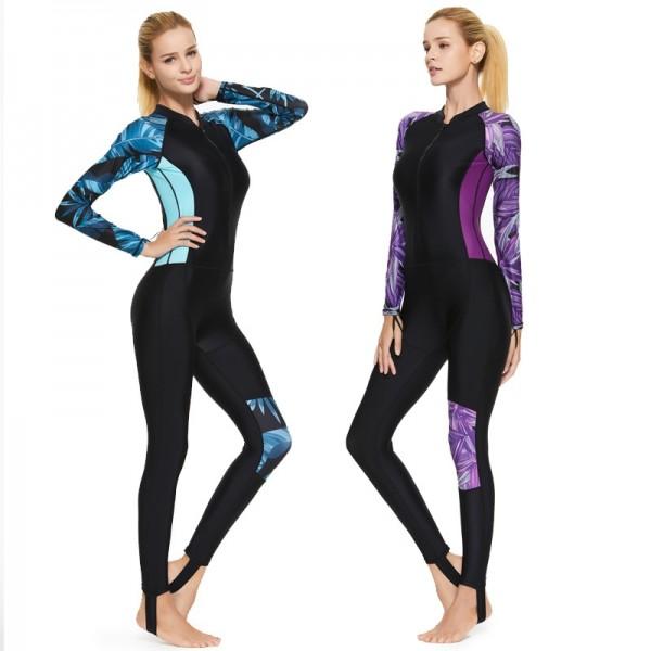 Women's Long Sleeves Rash Guard Full Body Side Floral Print Diving Snorkeling Wetsuit